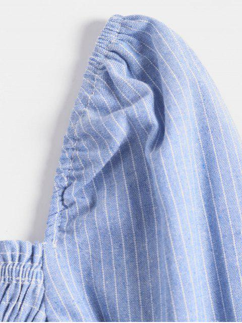 women's Striped Smocked Flare Sleeve Milkmaid Crop Blouse - SKY BLUE L Mobile