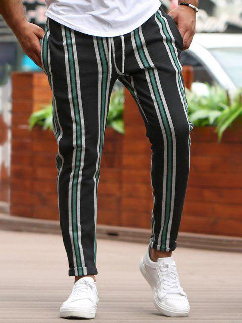 latest Vertical Striped Lounge Pencil Pants - GREEN M Mobile