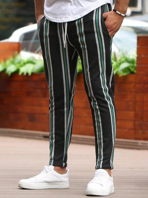 hot Vertical Striped Lounge Pencil Pants - GREEN S Mobile