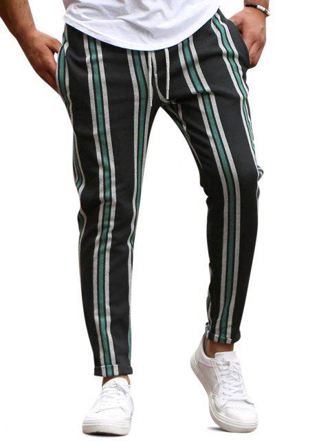 Pantalon Crayon à Rayure Verticale - Vert XS Mobile