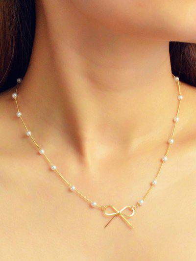 Brief Bowknot Faux Pearl Necklace - Gold