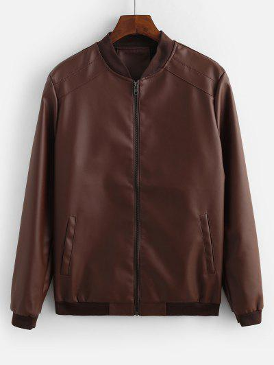 Solid Color Pocket Decorated Jacket - Coffee L