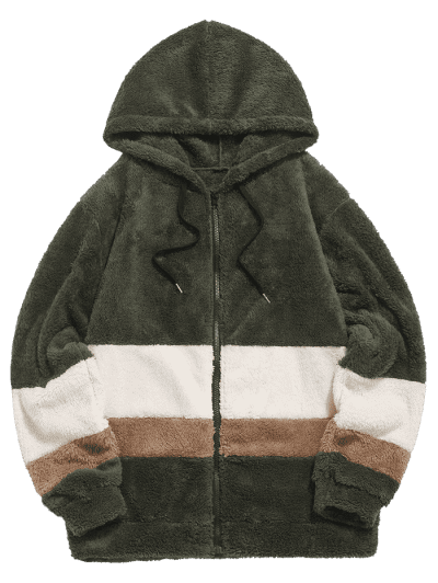 Colorblock Splicing Faux Fur Fluffy Hooded Jacket, Army green