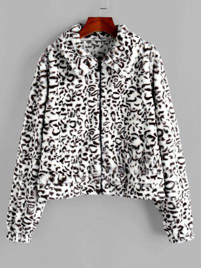 ZAFUL Faux Fur Leopard Fluffy Zipper Coat - Multi Xl