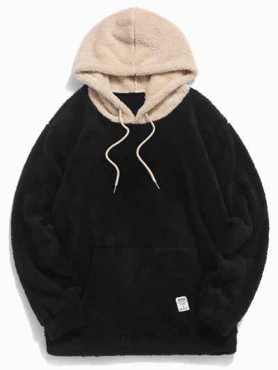 Colorblock Splicing Drawstring Fluffy Hoodie - Black L