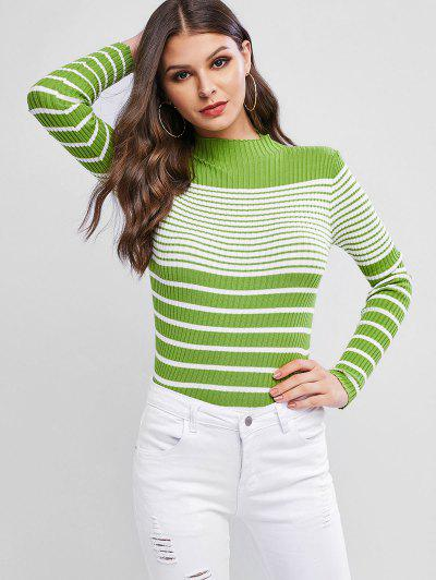 Ribbed Striped Mock Neck Fitted Sweater - Green