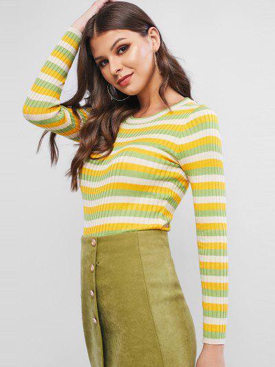 Maglione A Costine A Blocchi Di Colore - Verde