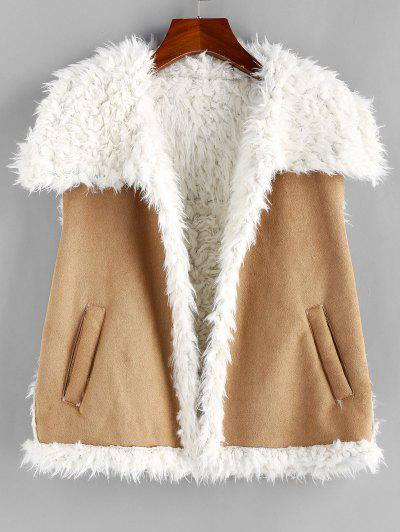 ZAFUL Faux Shearling Lining Suede Waistcoat - Camel Brown Xl