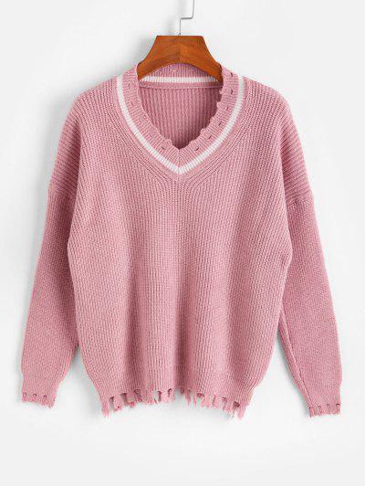 Drop Shoulder V Neck Distressed Jumper Sweater - Pink