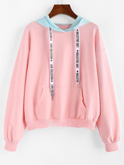 Letter Colorblock Drop Shoulder Hoodie - from $16.98