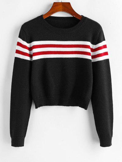 ZAFUL Striped Crop Jumper Sweater - Black S