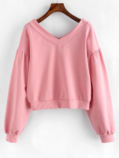 ZAFUL V Neck Drop Shoulder Pullover Sweatshirt - Pink M