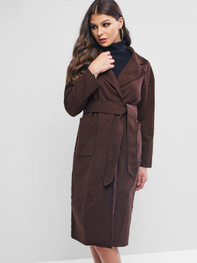 Wool Blend Pocket Belted Longline Coat - Coffee Xl