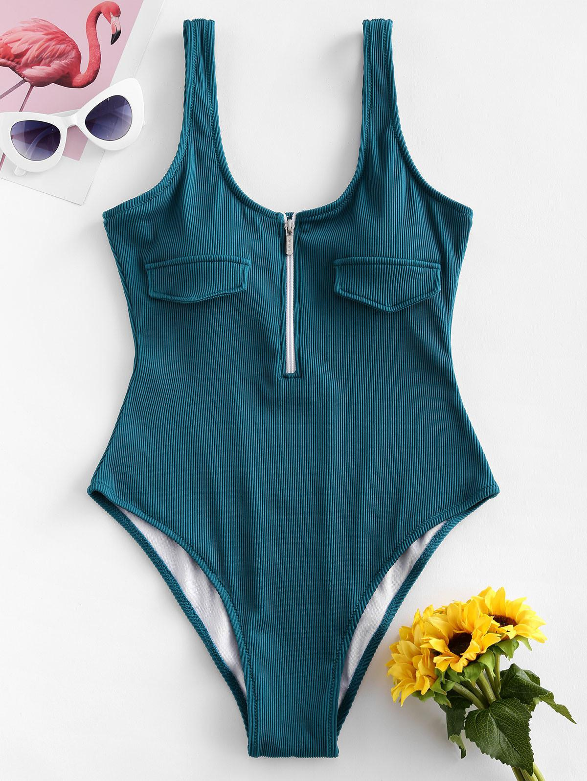 ZAFUL Half Zip Textured Ribbed One-piece Swimsuit фото