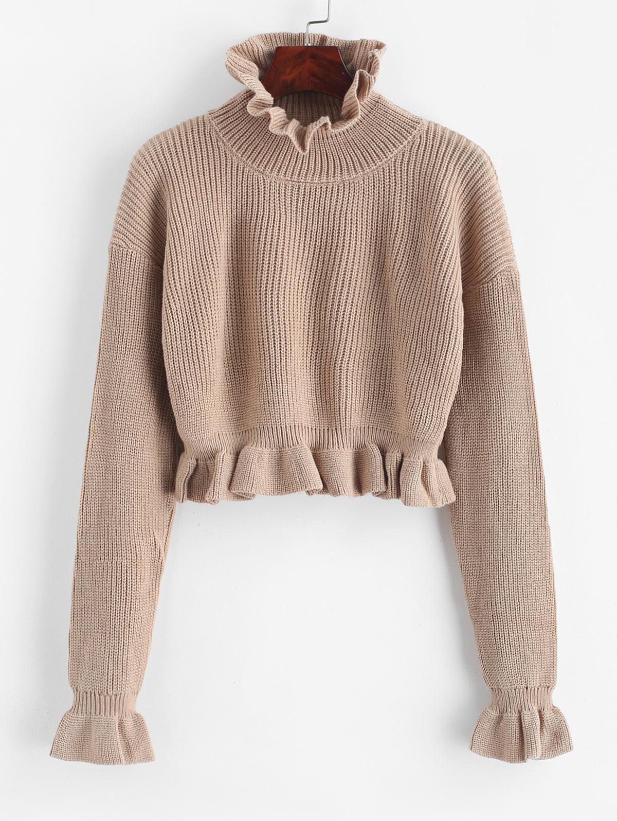 Solid Ruffled Pullover Sweater, Camel brown