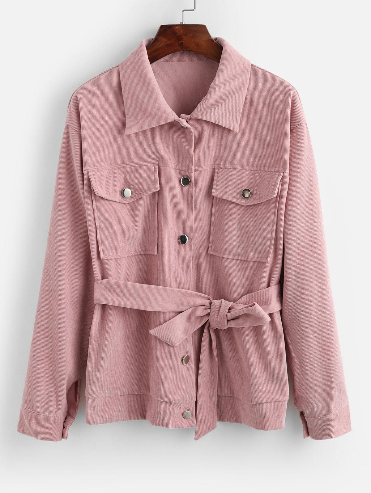 ZAFUL Button Front Flap Pockets Belted Corduroy Jacket