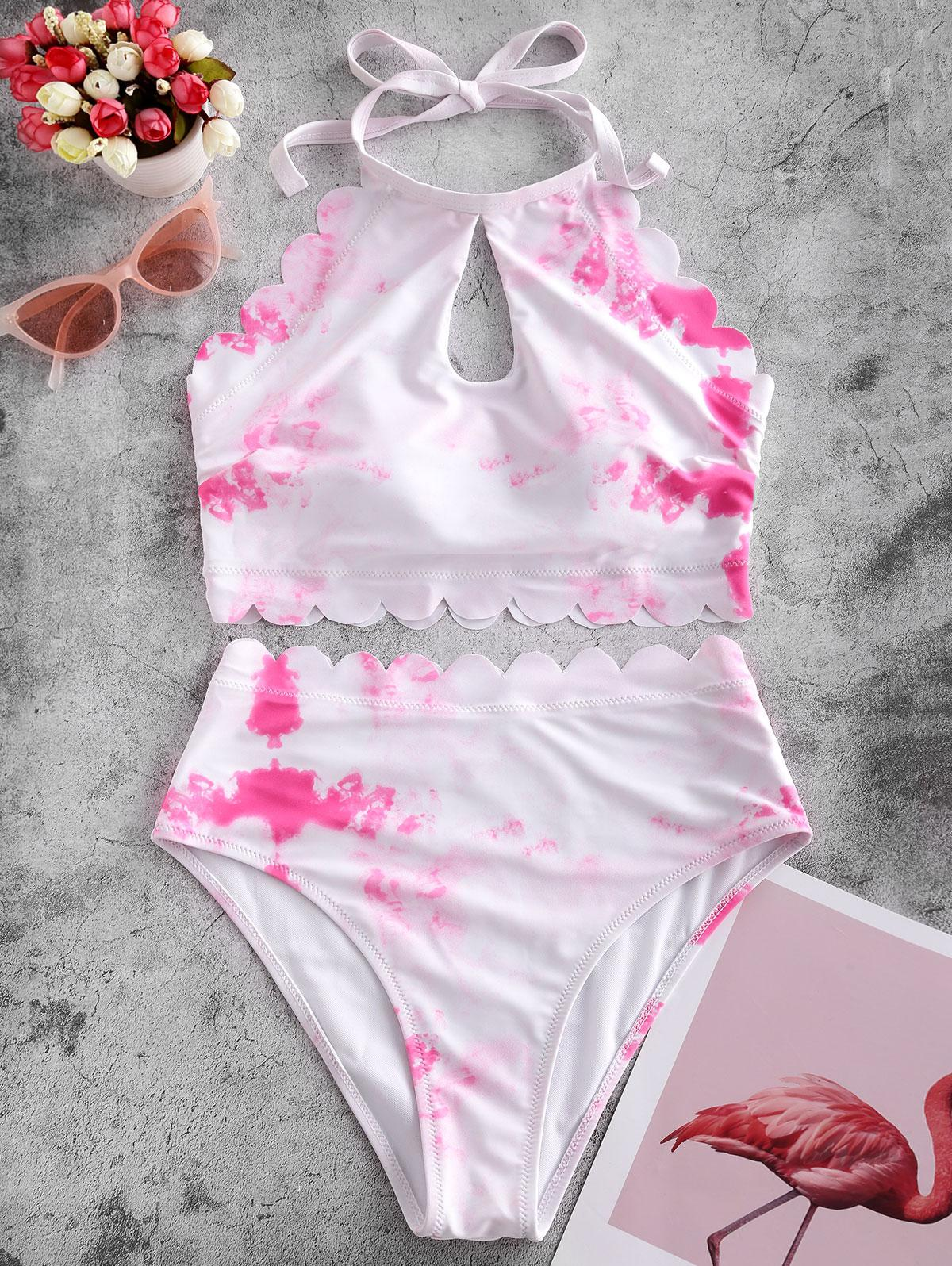 ZAFUL Scalloped High Waisted Tie Dye Tankini Swimsuit, Neon pink
