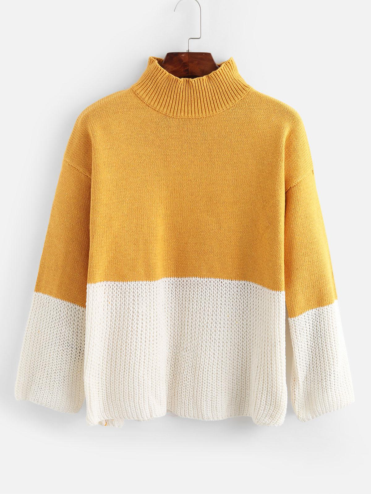 Drop Shoulder Mock Neck Two Tone Sweater