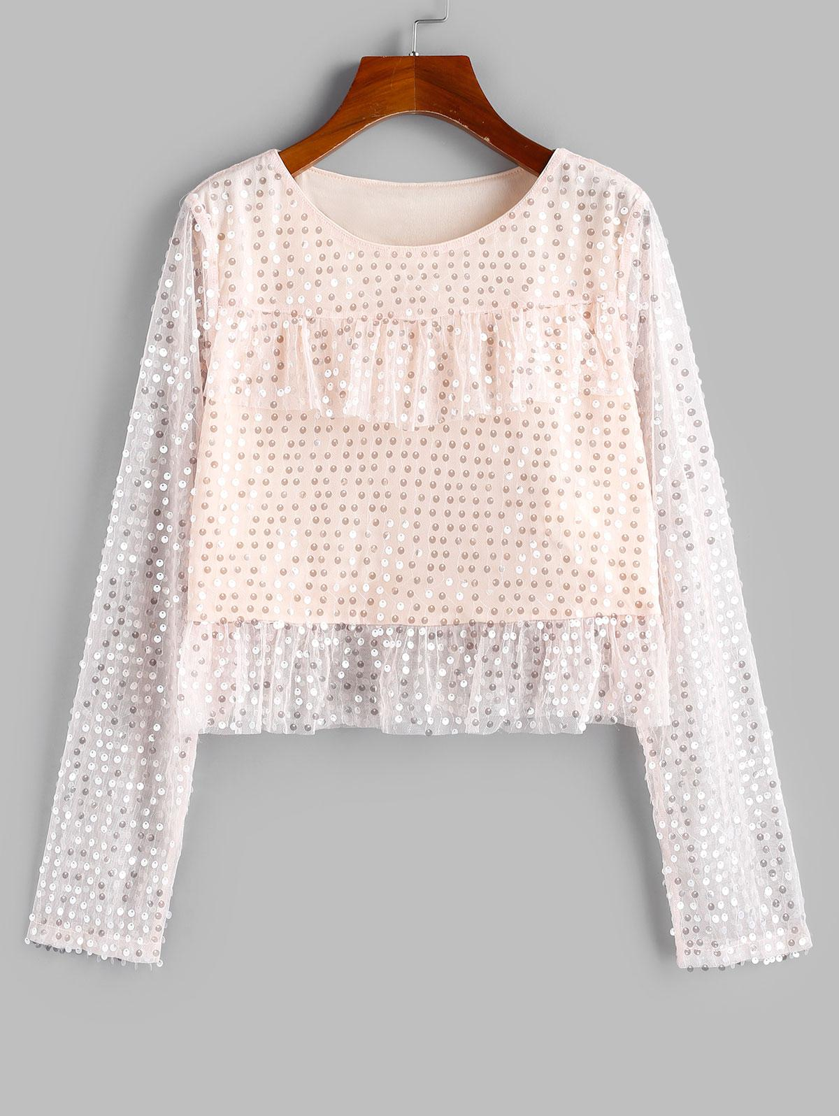 ZAFUL Disc Sequined Ruffle Lace Insert Blouse