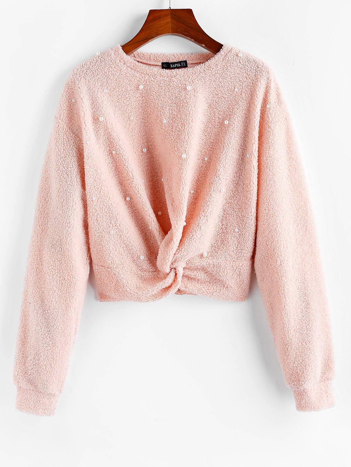 ZAFUL Beading Twist-front Teddy Sweatshirt