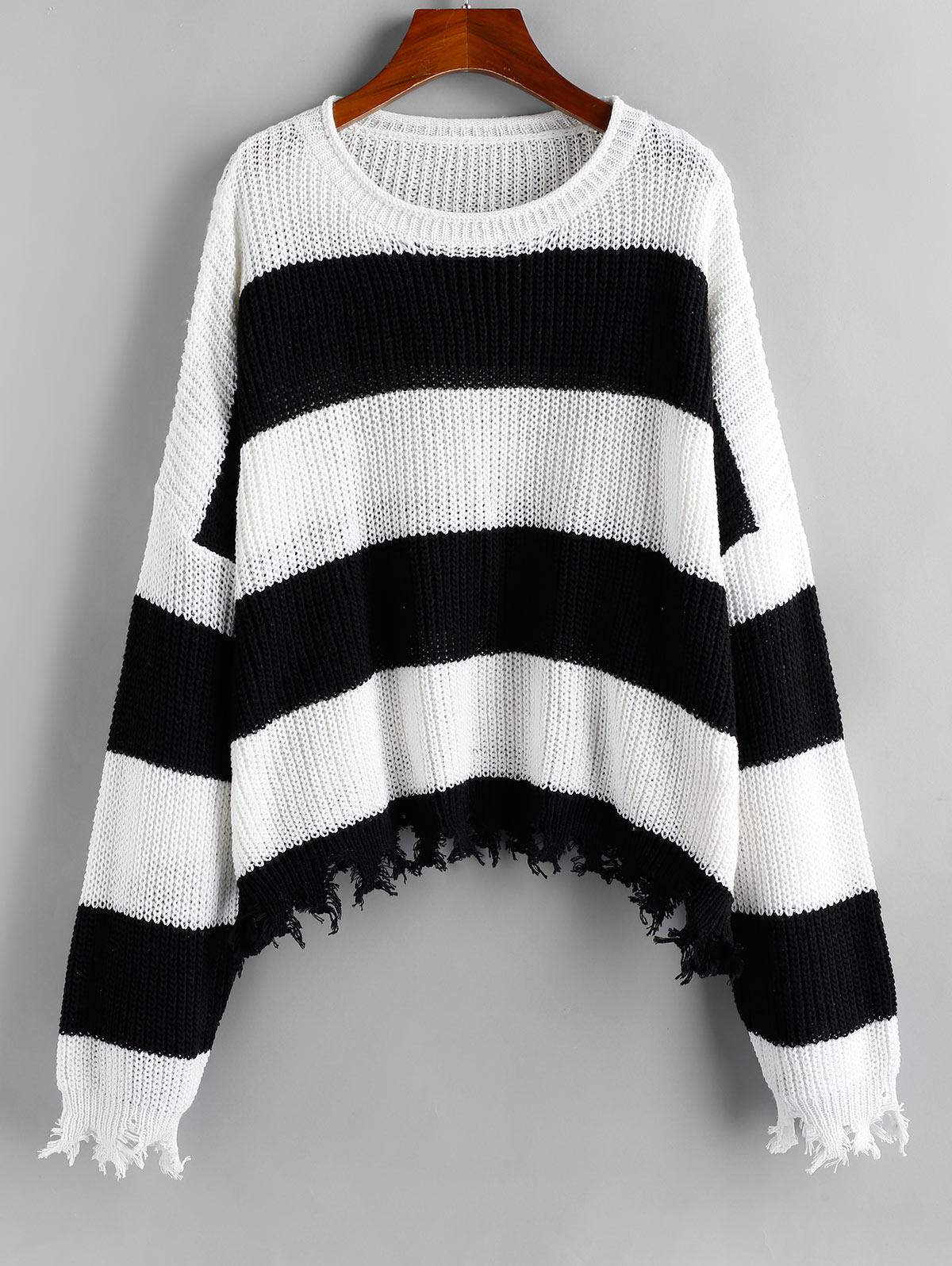 ZAFUL Two Tone Striped Frayed Drop Shoulder Sweater