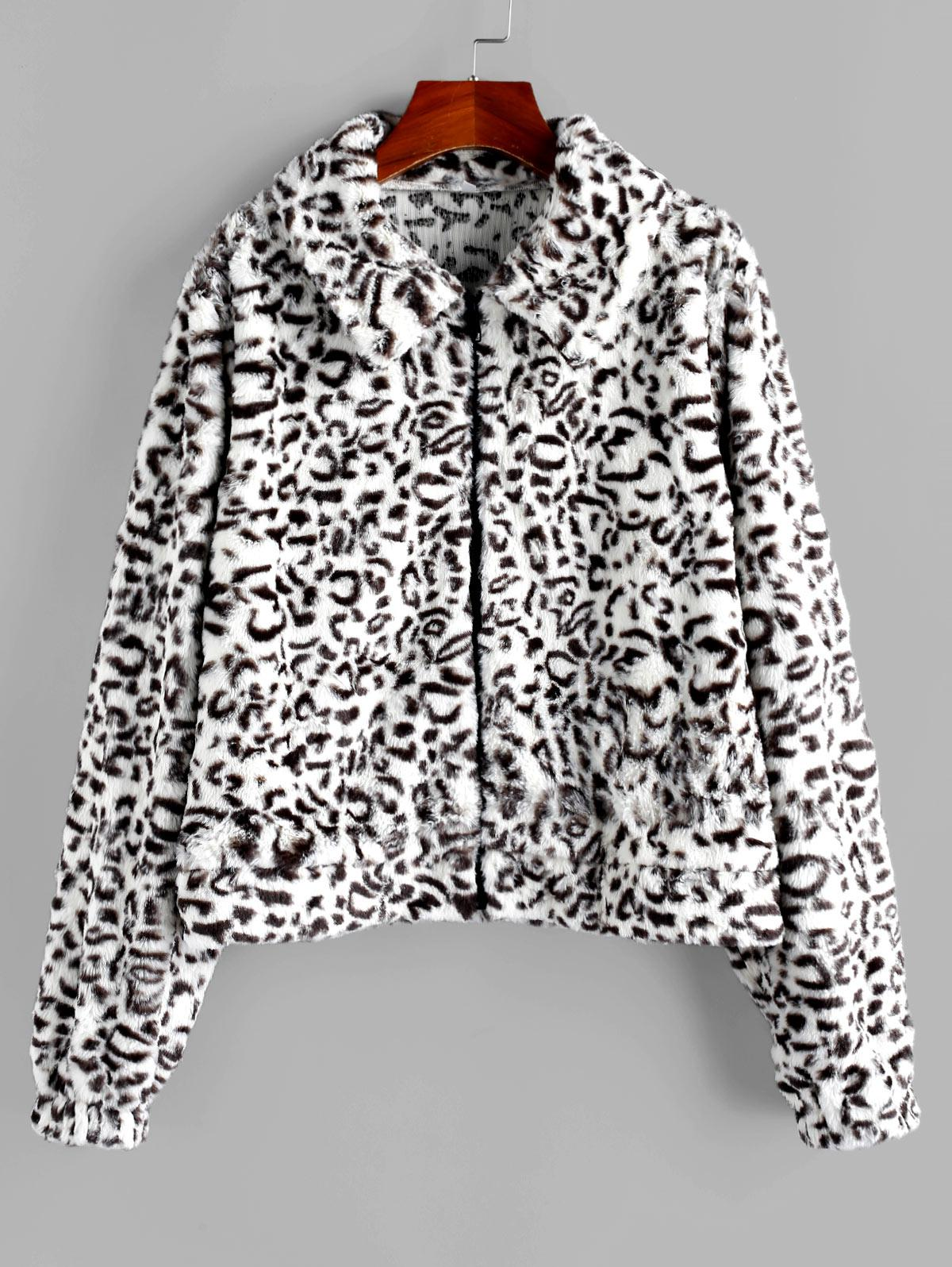 ZAFUL Faux Fur Leopard Fluffy Zipper Coat