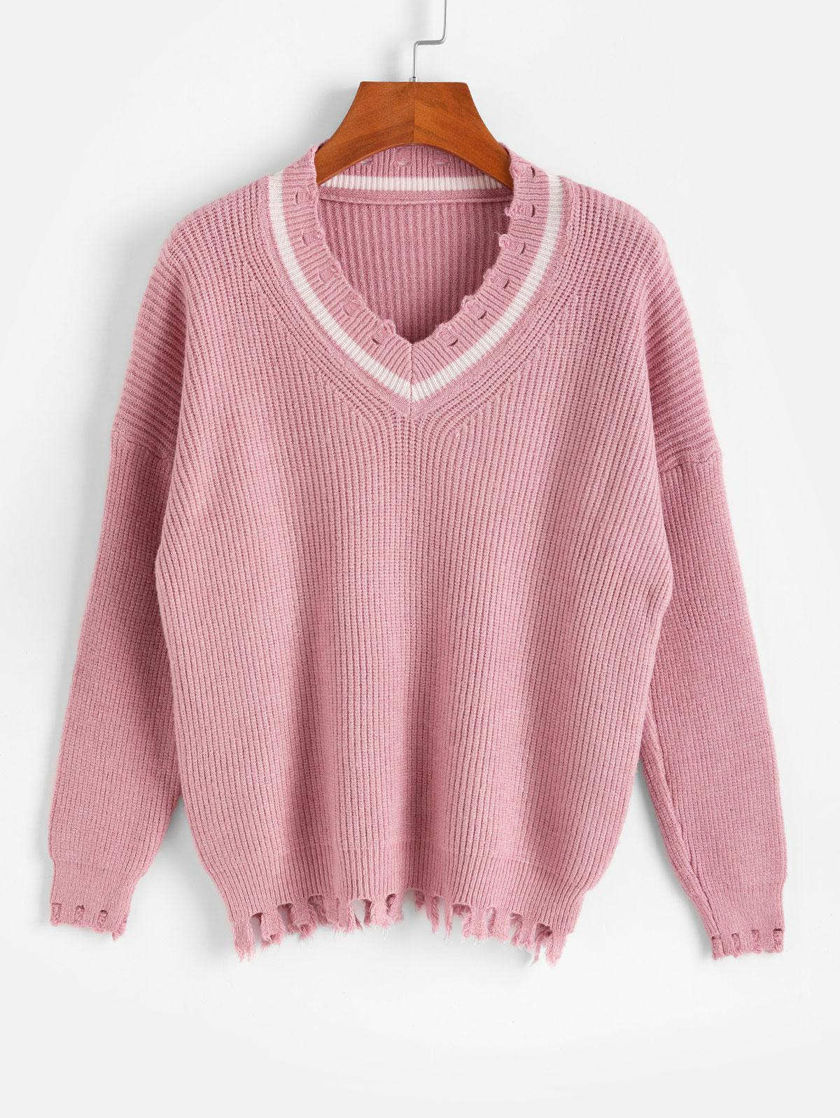 Drop Shoulder V Neck Distressed Jumper Sweater thumbnail