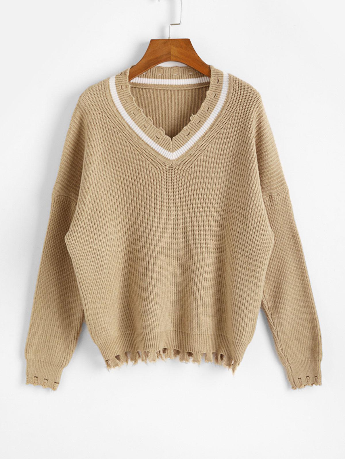 Drop Shoulder V Neck Distressed Jumper Sweater