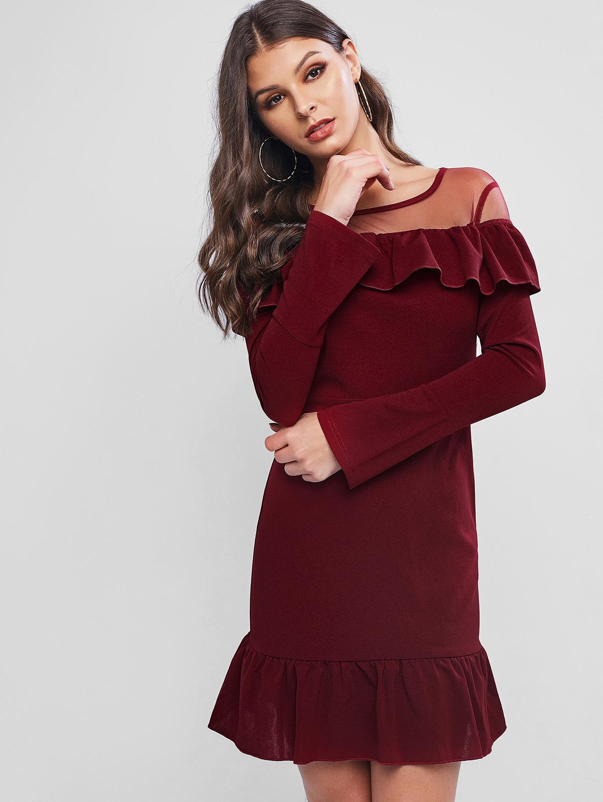 ZAFUL Flippy Hem Mesh Insert Flounce Sheath Dress