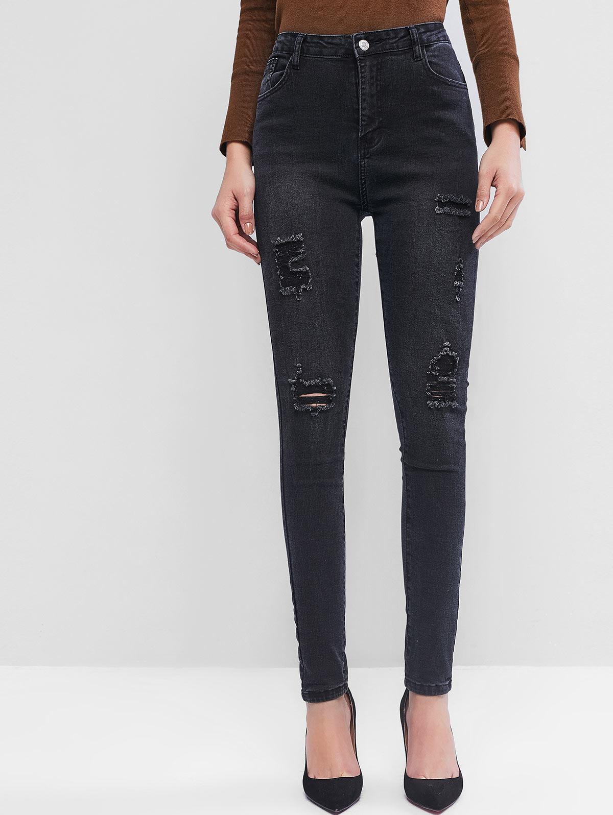 High Waisted Destroyed Tapered Jeans, Black