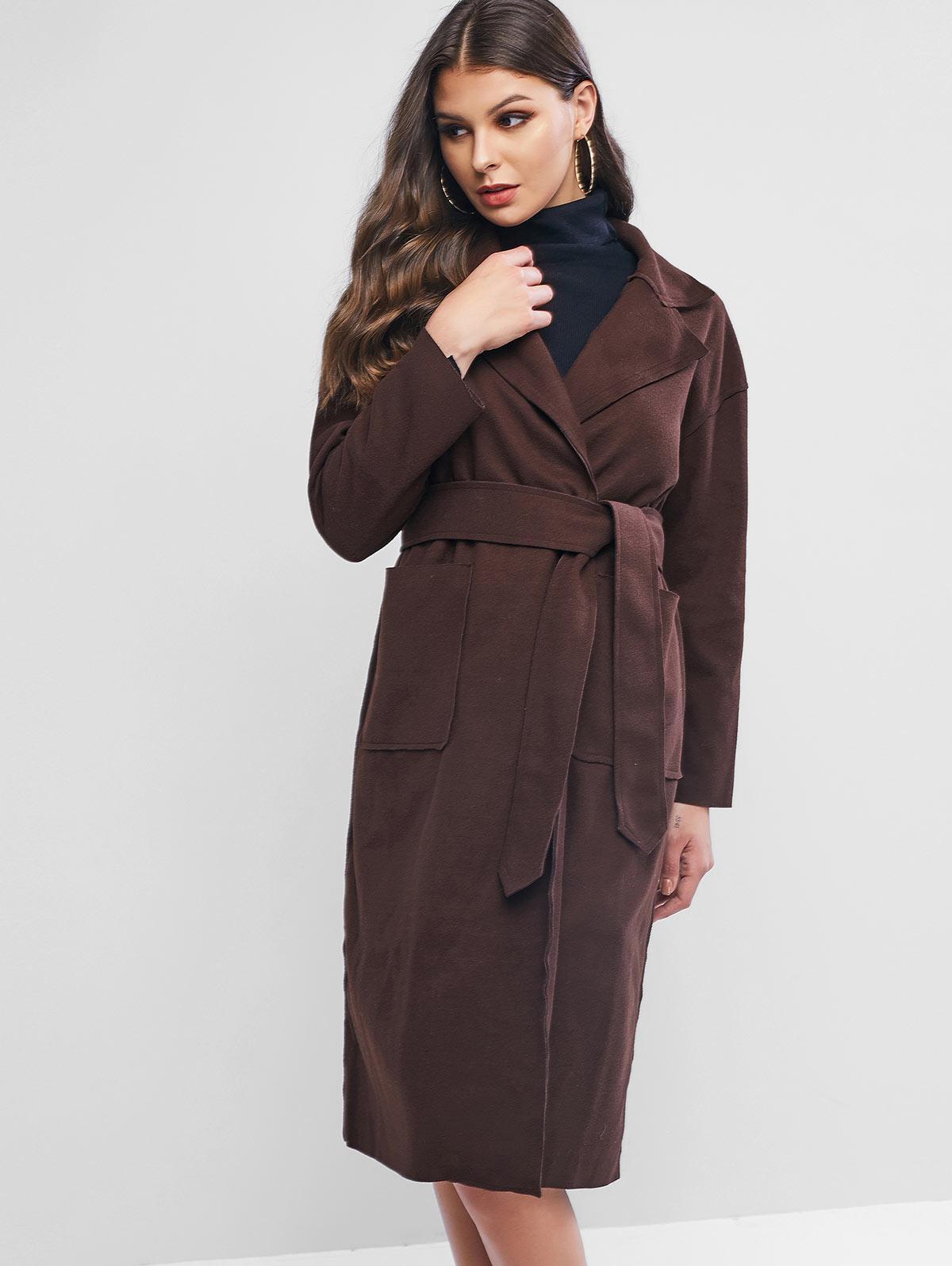 Wool Blend Pocket Belted Longline Coat