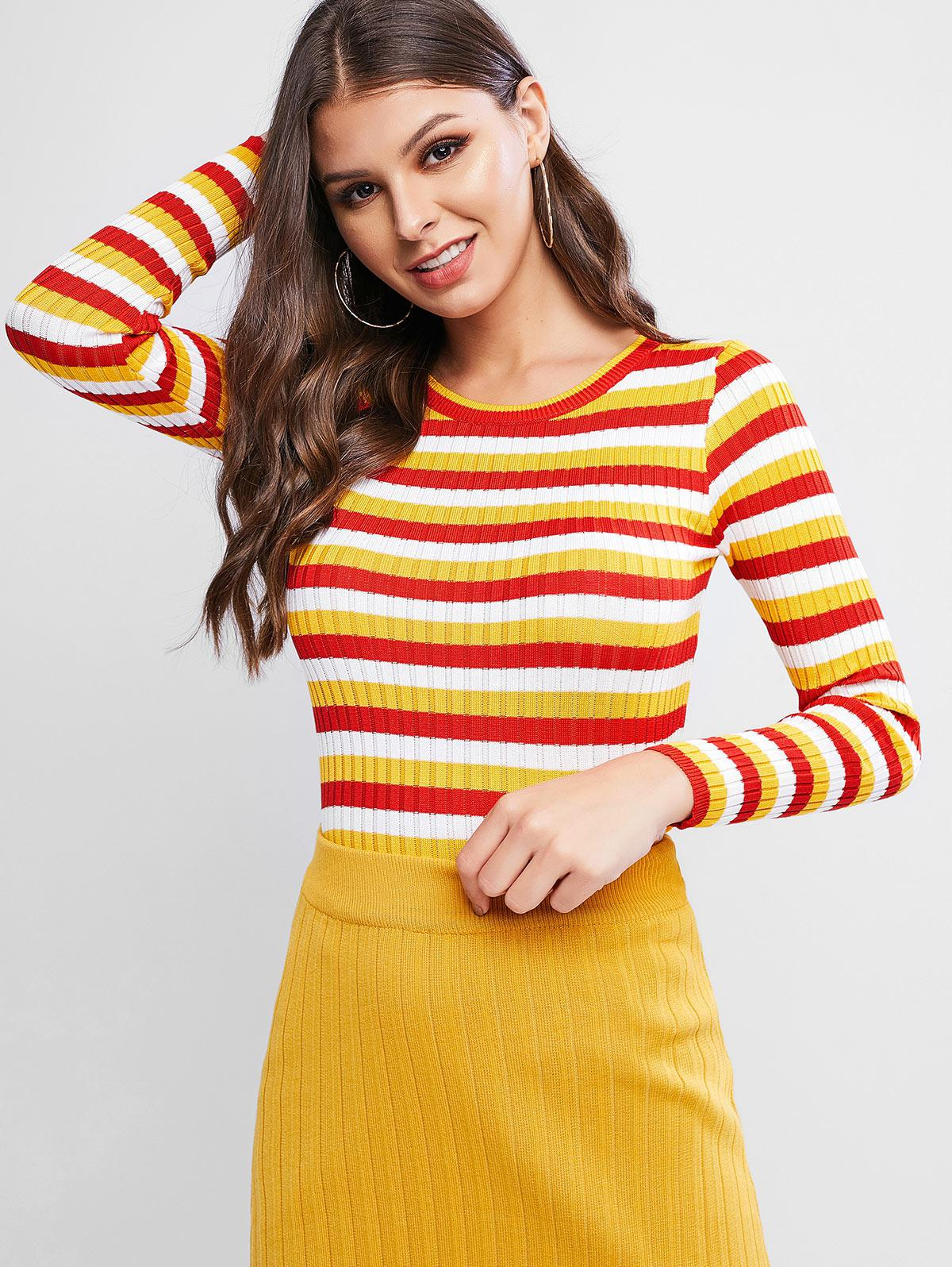 Colorblock Ribbed Fitted Sweater