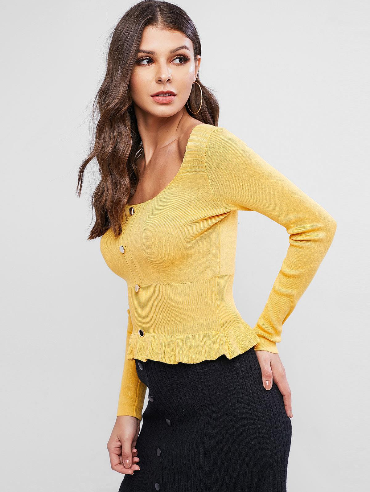 Scoop Neck Button Embellished Peplum Sweater