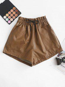 Pockets Faux Leather Shorts