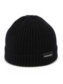 غزل الصوف الصلبة الشتاء محبوك قبعة - أسود