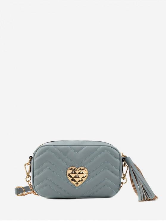 กระเป๋าสะพายพู่หัวใจหัวเข็มขัด - สีน้ำเงินเทา