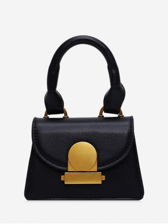 affordable Top Handle Mini Flap Crossbody Bag - BLACK
