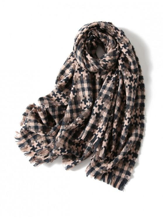 sale Plaid Cross Pattern Fringed Scarf - PINK