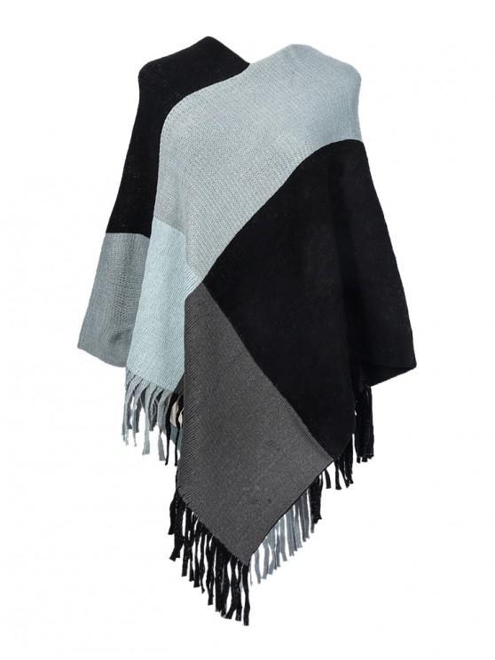 women's Colorblock Checkered Fringe Long Shawl - GRAY
