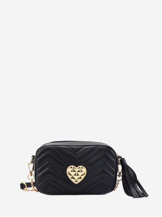 กระเป๋าสะพายพู่หัวใจหัวเข็มขัด - สีดำ