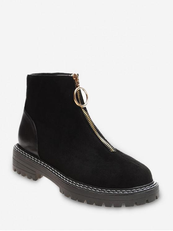 shop O-ring Front Zip Low Heel Ankle Boots - BLACK EU 38