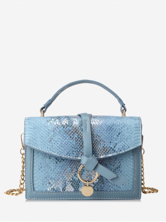 unique Snakeskin Embossed Sequined Top Handle Crossbody Bag - SKY BLUE