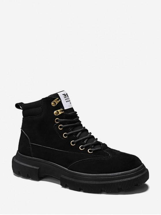 affordable Faux Suede Short Cargo Boots - BLACK EU 39