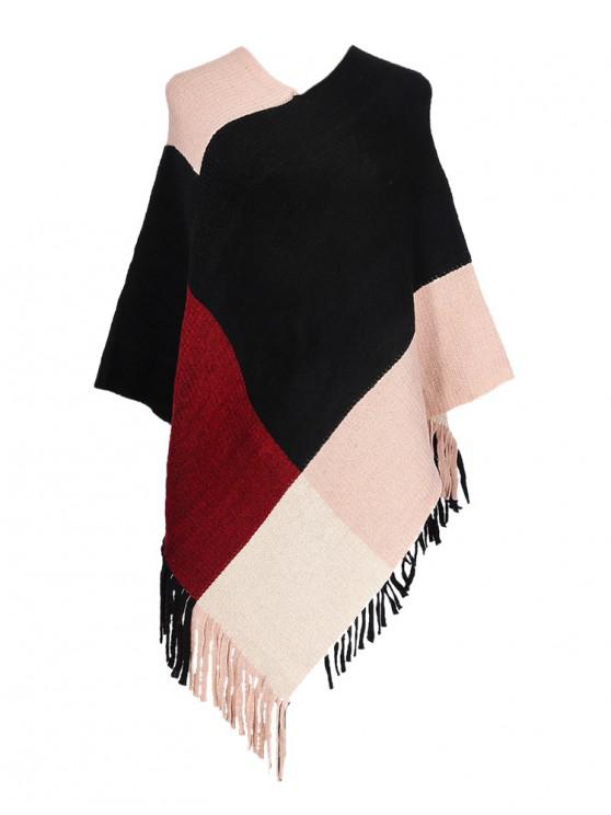 best Colorblock Checkered Fringe Long Shawl - LIGHT PINK