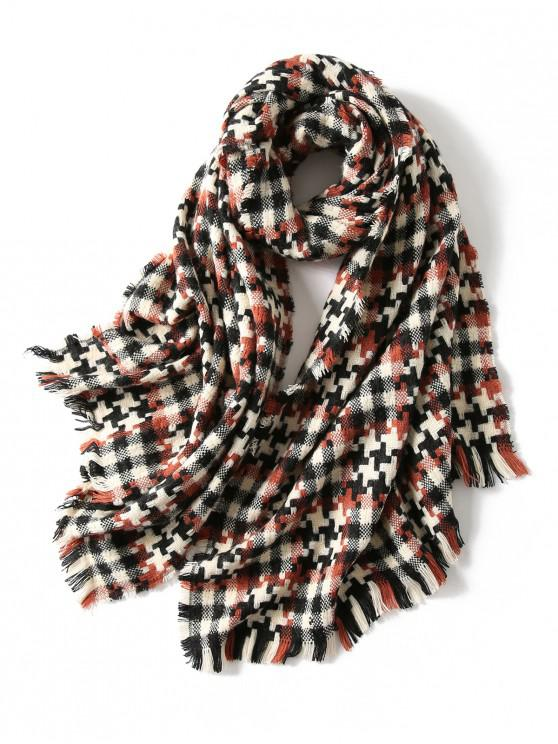 chic Plaid Cross Pattern Fringed Scarf - RED