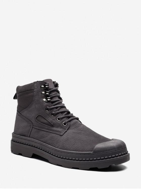 trendy Cloth Panel Faux Leather Cargo Boots - GRAY EU 40