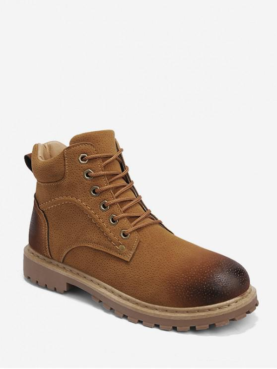 new Retro Faux Leather Cargo Ankle Boots - YELLOW EU 39