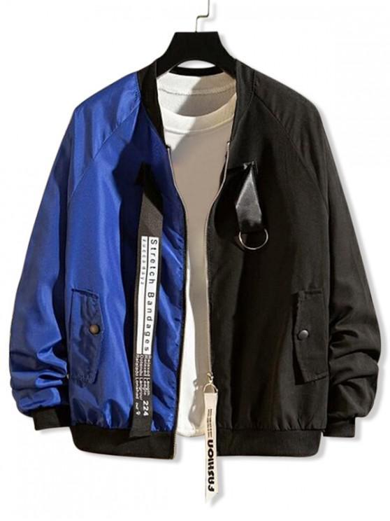 new Letter Graphic Print Two Tone Panel Raglan Sleeve Jacket - BLUE 2XL