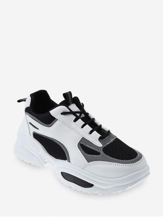 chic Contrast Trim Breathable Mesh Dad Sneakers - BLACK EU 40