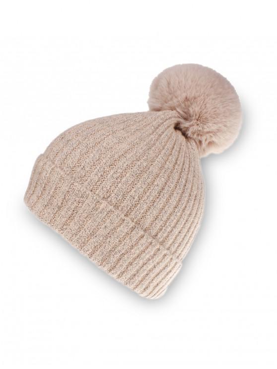 Chapeau d'Hiver Tricoté Boule en Couleur Unie - Rose